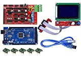 WINGONEER 3d Printer Controller Kit Mega 2560 R3 + Ramps 1.4 + 5pcs A4988 Stepper Motor Driver with Heatsink + LCD 12864 Graphic Smart Display Controller with Adapter for Arduino Reprap LK17