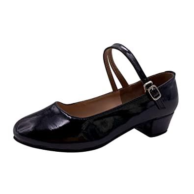 Women/'s Patent Leather Cuban Low Heels Shoes Ankle Strap Oxfords Mary Janes Size