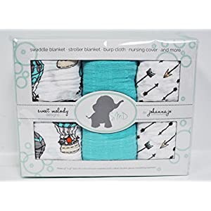 Baby Swaddle Blanket Pack of 3 in Arrows, Animals, & Solid Turquoise { Away We Go }
