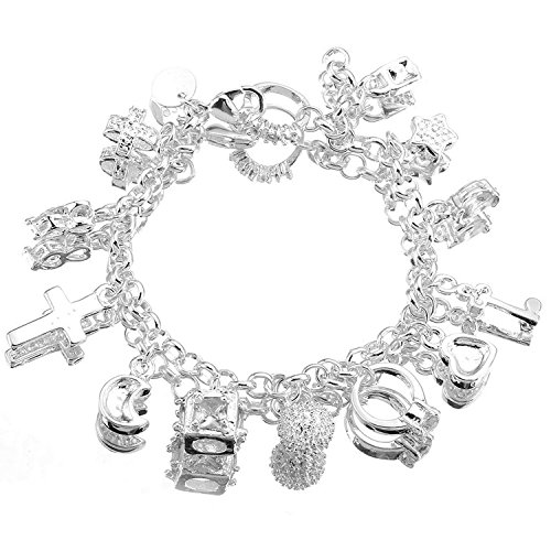 Women's Silver Tone Charm Bracelet Cross Moon Ring Keys Star Heart 8
