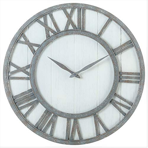 (Oldtown Farmhouse Metal & Solid Wood Noiseless Wall Clock (Whitewash, 18-inch))