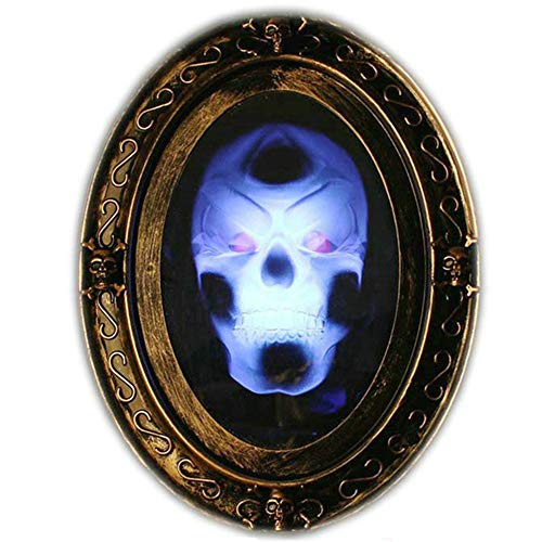 Liberty Imports Motion Activated Haunted Mirror with Creepy Sound-Luminous Portrait Halloween Prop -