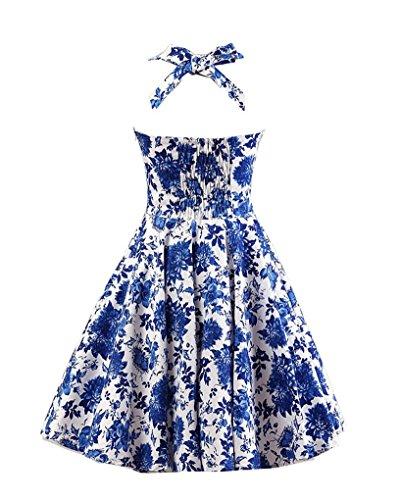 MISSMAO Vintage Rockabilly Kleid Blumen Neckholder Cocktailkleider 50s  Hepburn Kleid Festlich Petticoat Kleid Weiß   Blau ... b3d37d415e