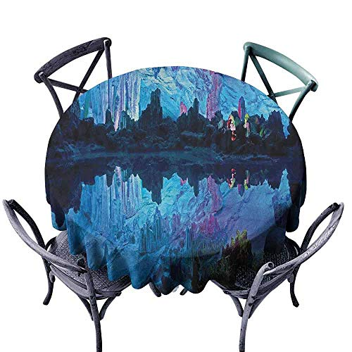 - ScottDecor Microfiber Round Tablecloth Wrinkle Free Tablecloths Natural Cave,Illuminated Reed Flute Cistern with Artifical Crystal Palace Myst Cave Image Print, Blue Diameter 70