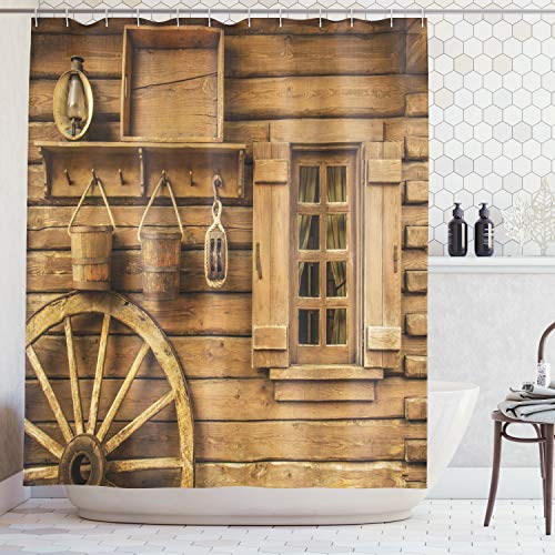 Ambesonne Western Decor Collection, Ancient Wagon Wheel Rustic Wooden Vintage Lantern Window and Buckets Picture, Polyester Fabric Bathroom Shower Curtain Set with Hooks, Khaki