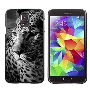 Caucho caso de Shell duro de la cubierta de accesorios de protección BY RAYDREAMMM - Samsung Galaxy S5 SM-G900 - Leopard Spots Animal Fur White Black