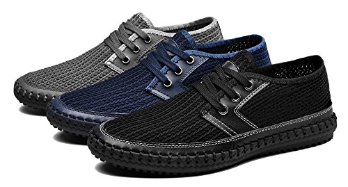 MOHEM Men's Poseidon Casual Water Shoes Mesh Walking Quick Drying Hiking Shoes(3166-1Blue38)