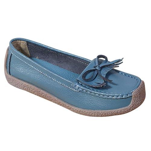 Yudesun Moda Zapatos Mujer Mocasines - Zapatilla Confort Planas Loafers Primavera Casual Antideslizante Guisantes Estilo con Bowknot Primavera Verano Otoño ...
