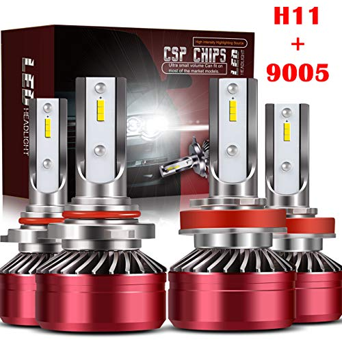 TURBOSII 9005/HB3 High Beam H11/H8/H9 Low Beam Led Headlight bulbs Combo Conversion Kits DOT Approved D6 Series CSP Chips,12000LM 6000K Cool White (4Pack,2 sets,Red)