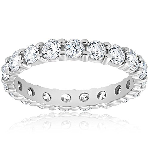 - Diamond Eternity Ring 2 Carat Womens Stackable Wedding Band 14K White Gold - Size 7