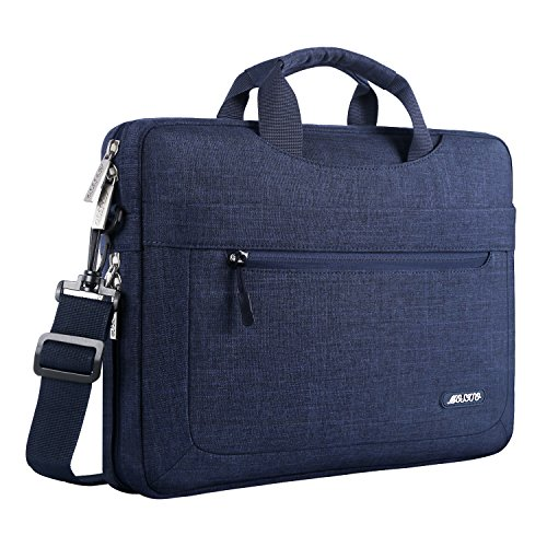 MOSISO Messenger Laptop Shoulder Bag Compatible 15-15.6 Inch 2018/2017/2016 New MacBook Pro, MacBook Pro, Also Fit 14 Inch Ultrabook, Polyester Briefcase with Adjustable Depth at Bottom, Navy Blue