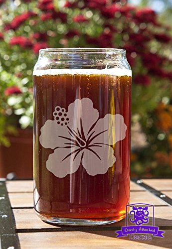 Hawaiian Flower Beer Can Glass Gift