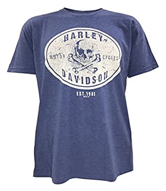 Harley-Davidson Men's Rambler Skull Short Sleeve T-Shirt, Vintage Royal (S)