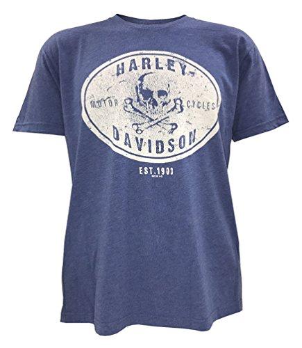 Harley Davidson Crossbones (Harley-Davidson Men's Rambler Skull Short Sleeve T-Shirt, Vintage Royal (S))
