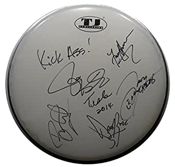 Signed Tesla Autographed Drumhead All 5 W/pics