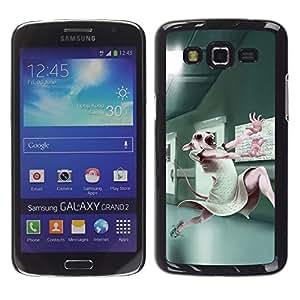 Be Good Phone Accessory // Dura Cáscara cubierta Protectora Caso Carcasa Funda de Protección para Samsung Galaxy Grand 2 SM-G7102 SM-G7105 // Animal Testing Lab Cute Bunny White Rabb