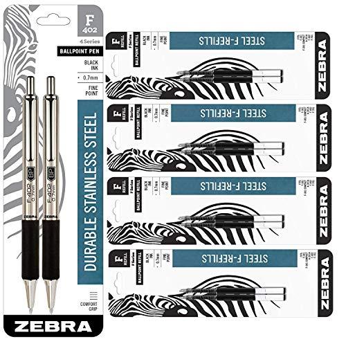 Zebra F-402 Ballpoint Stainless Steel Retractable Pen & Ballpoint F-Refills 0.7mm, Black Ink, 2 Pens and 8 Refills