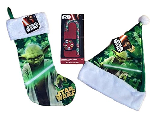 [Star Wars Yoda Christmas Stocking, Santa Hat, Cherry Candy Cane Bundle] (Santa Candy Cane Holder)