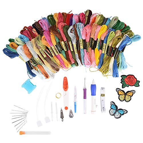 Needle Kit 100 Colors Threads DIY Craft Cross Sewing Stitching Knitting Tools Crochet Suit Home Activity Helper ()