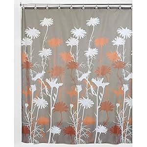 Daizy Shower Curtain, Mushroom and Spice, 72 x 72-Inch