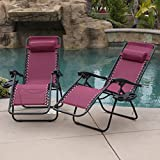Belleze 2PC Zero Gravity Chair Lounge Seat UV Resistant Cup Phone Holder Tray Beach Pool Backyard, Burgundy For Sale