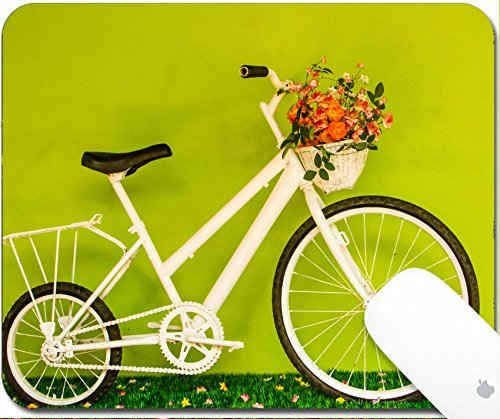 Luxlady Gaming Mousepad 9.25in X 7.25in IMAGE: 24040327 White bicycle with flower on green grasses and yellow wall