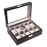 GZNIGHT Watch Box Large 12 Slot Mens Women Black Leather Display Storage Glass Top Jewelry Case Organizer