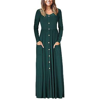 Kleider für Damen Blusen Tuniken Elegant T-Shirt Kleid Langarmkleid Hülsen  Strandkleid Lose Einfache Einfarbig Maxikleid Beiläufige Lange Frauen  Freizeit ... a7c3ce6c46