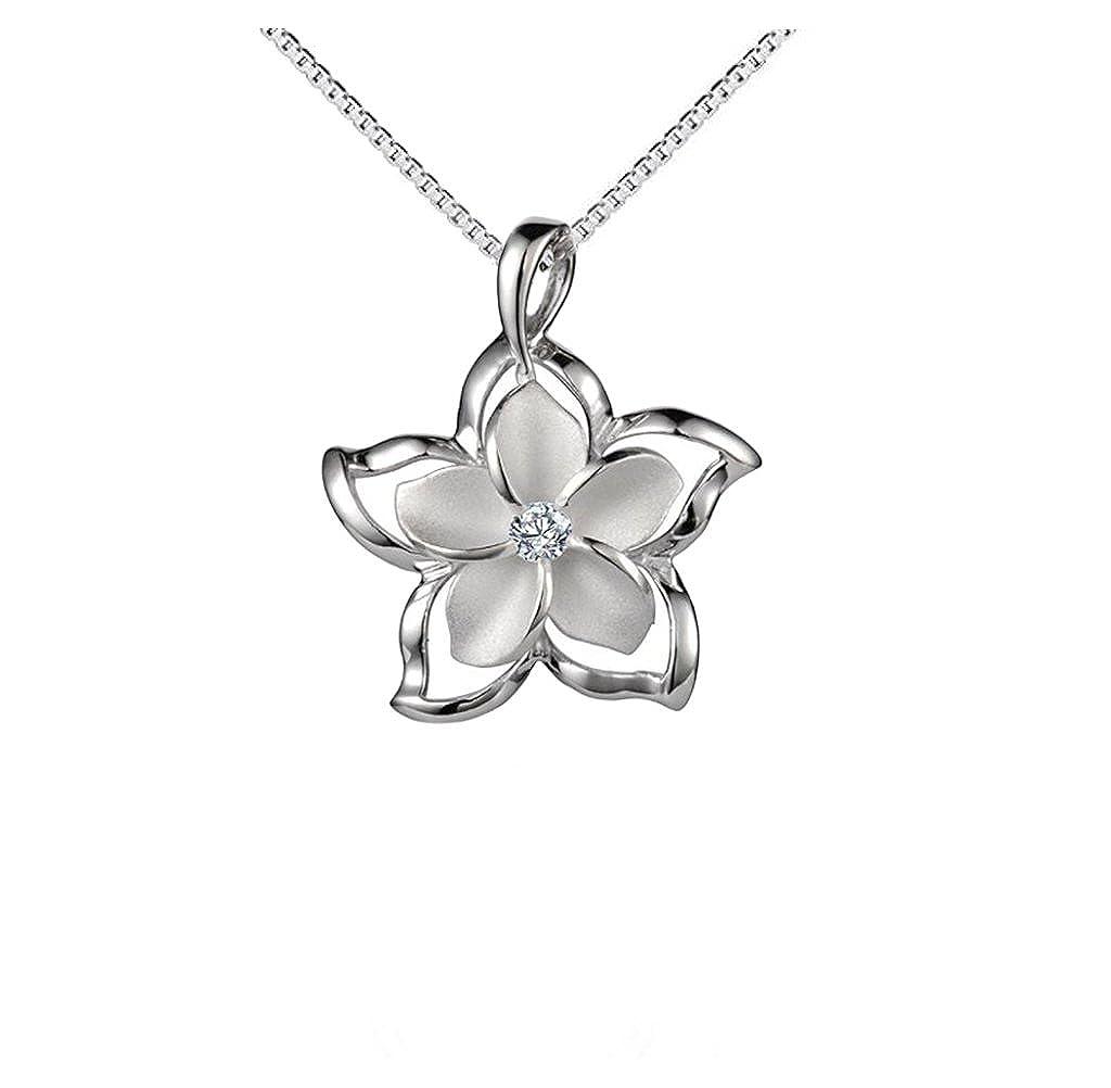 Sterling Silver 925 Plumeria Star Flower Outline Pendant Necklace