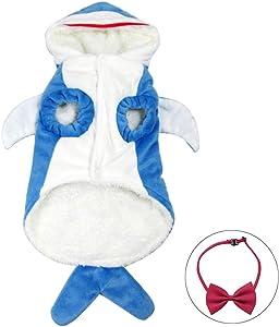Wow4pets Pet Shark Shape Clothes Dog Warm Costumes Soft Three-Dimensional Cat Dress