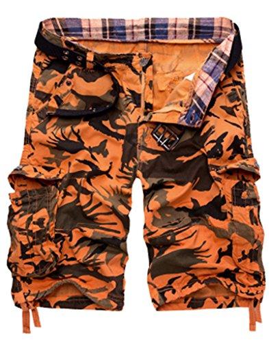 WenVen Men's Camouflage Active Cargo Shorts Outdoor Wear(Orange,31)