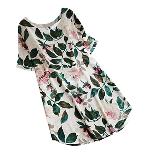 XILALU Women Summer Plus Size Floral Print Party Short Sleeve Round Neck Loose Shift Beach Casual Mini Dress (L, White) (Floral Print Shift Dress)