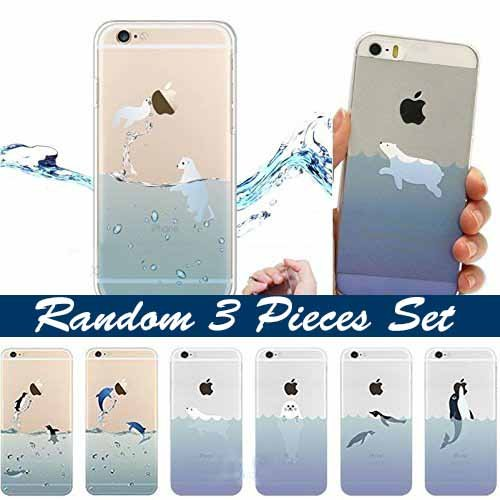 iPhone 6 / 6s Compatible, Random 3 Pieces Set Of Blue Marine Polar Aquatic Animals Colorful Rubber Flexible Silicone Case Bumper for Apple Clear Cover Case