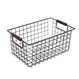 Yinmake Handmade Classic Metal Mesh Wire Storage Basket Organiser Bin with Handles for Kitchen,Shelves,Pantry,Cabinet,Freezer,Bathroom,Makeup Organiser(Brown,Small)