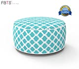 FBTS Prime Outdoor Inflatable Ottoman Blue Round Patio Foot Stools and Ottomans Suitable for Kids and Adults Portable Travel Footstool Used for Outdoor Camping Home Yoga Foot Rest