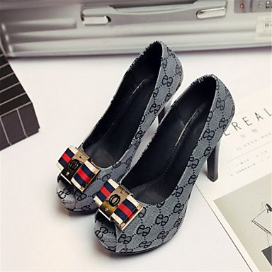 LvYuan Mujer-Tacón Stiletto-Otro Zapatos del club Innovador-Sandalias-Boda Informal Vestido-Materiales Personalizados Semicuero-Negro Gris Black