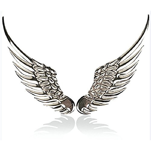 Wings Emblem - Car Stickers and Decals-Stainless Alloy Metal,Car Decoration Sticker Logo 3D Angel Wings,Emblem,Badge Stickers,Styling Warning (Silver)