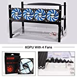 6 GPU Mining Caee Rig 4 LED Blue Fans Bitcon Aluminum Stackable Open Air Miner Case Frame with Miner Kit for Ethereum(ETH)/ETC/ ZCash Bitcoin,and Altcoins Unassembled(Black Frame, Blue Fans)