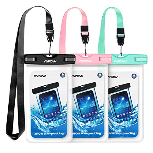 Mpow 024 Waterproof Case, Universal IPX8 Waterproof Phone Pouch Underwater Protective Dry Bag Compatible iPhone Xs Max/XS/XR/X/8/8P, Galaxy S10/S9, Google Pixel/HTC up to 6.5″ (Pink Blue Black)