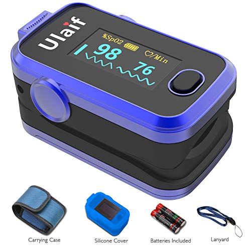 (ULAIF Fingertip Pulse Oximeter with OLED Display Portable Oximetry Blood Oxygen Saturation Monitor SpO2 Finger Pulse Oximeter Readings with Carrying Case Silicon Case Lanyard and Batteries FDA Cleared)