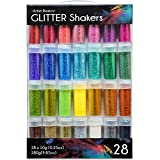 Premium Ultra Fine Glitter for Slime - Craft Glitter - Art Supplies Glitter Shaker Jars - Extra Fine Glitter Set - Slime Ingredients, 28 Pack