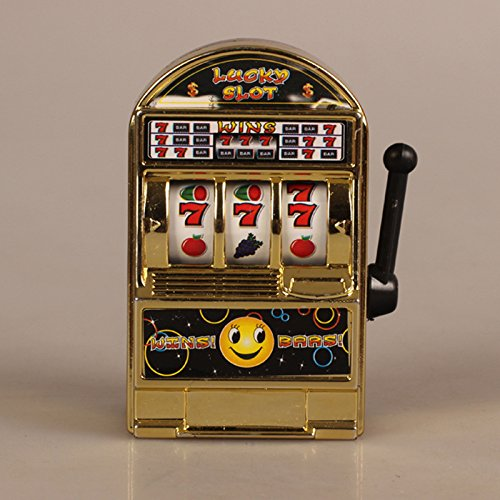 Lanlan Children Mini Lucky Sevens Jumbo Slot Machine Bank Replica Fruit Relieve stress Anxiety Boredom Decompression Toy Gold (Slot Bank Jumbo)