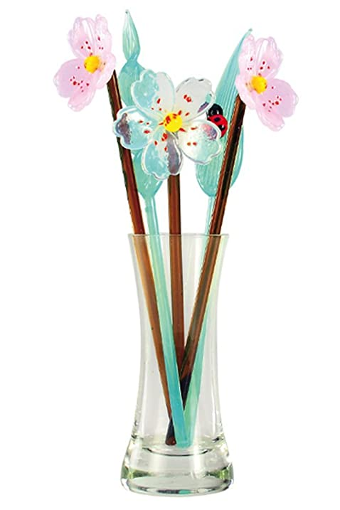 Amazon.com: Crystal Glass Flower Blossom Bouquet with Vase, Gift ...