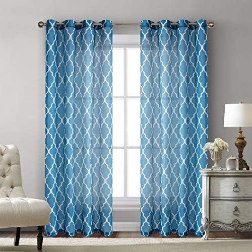 Blue Moroccan Print Sheer Curtains