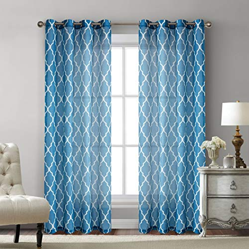 Blue Moroccan Print Sheer Curtains for Bedroom- Faux Linen Blend Textured Geometry Lattice Grommet Window Treatment Semi Drapes Panel Set for Living Room - 42
