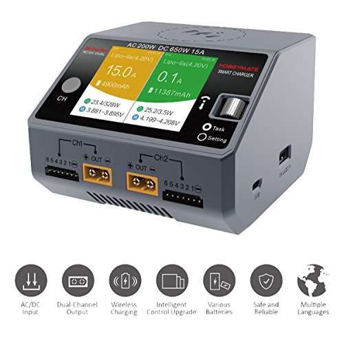 HOBBYMATE D6 Duo Pro Battery Charger w/Wireless Cellphone Charging, Support AC/DC Input