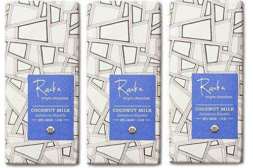 Raaka Chocolate Coconut Milk Dark Chocolate 60% Cacao, (1.8oz Bar - 3 Pack), Organic, Non-GMO, Kosher Premium Craft Artisan Chocolate, Vegan, Gluten and Soy Free, Bittersweet, Bean-to-Bar (Gift Bittersweet Chocolate)