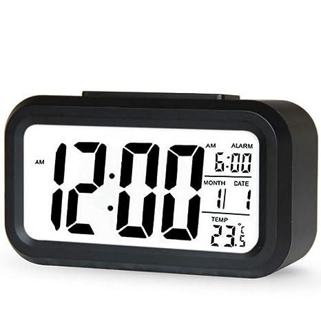 Rocita Reloj electrónico Reloj Alarma Digital LCD con Pantalla Grande de la batería Operado Reloj LED