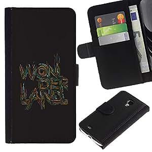 For Samsung Galaxy S4 Mini i9190 MINI VERSION!,S-type® Quote Text Art Quote Brown - Dibujo PU billetera de cuero Funda Case Caso de la piel de la bolsa protectora