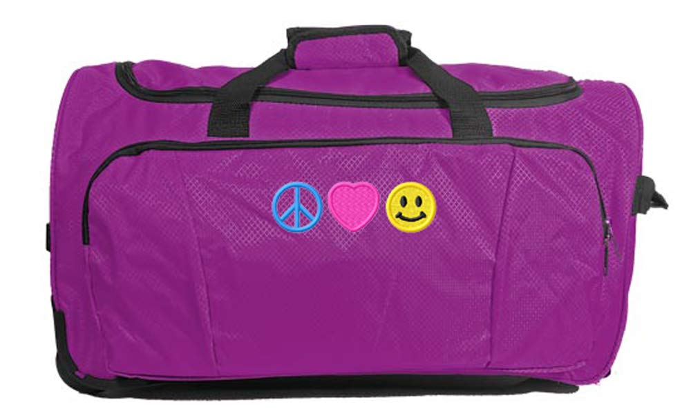Kids Travel Zone Big Girls Rolling Duffel With Peace Love Happiness Image In Purple 19117